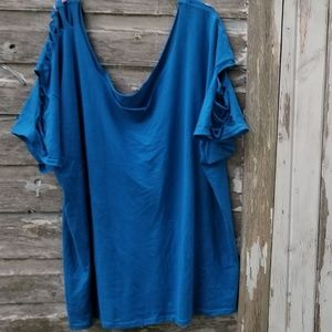 Destroyed Slashed Royal Blue Tee